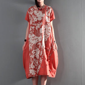 joyful summer floral linen maxi dresses plus size summer dresses casual linen clothing orange