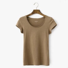 Load image into Gallery viewer, khaki women shirt casual summer short sleeve tunic T shirt