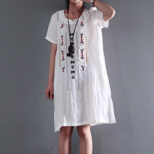 Load image into Gallery viewer, linen sundress white short sleeve summer dresses plus size blouse