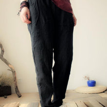 Load image into Gallery viewer, natural linen summer pants women black linen harem pants loose casual