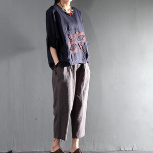 peaceful life women summer shirt short top line blouse oversize