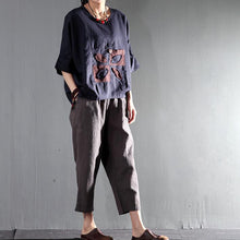 Load image into Gallery viewer, peaceful life women summer shirt short top line blouse oversize