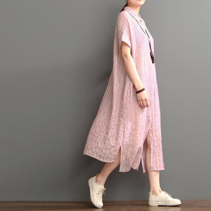 pink cotton dresses New design linen sundress open hem