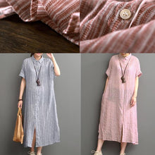 Load image into Gallery viewer, pink cotton dresses New design linen sundress open hem