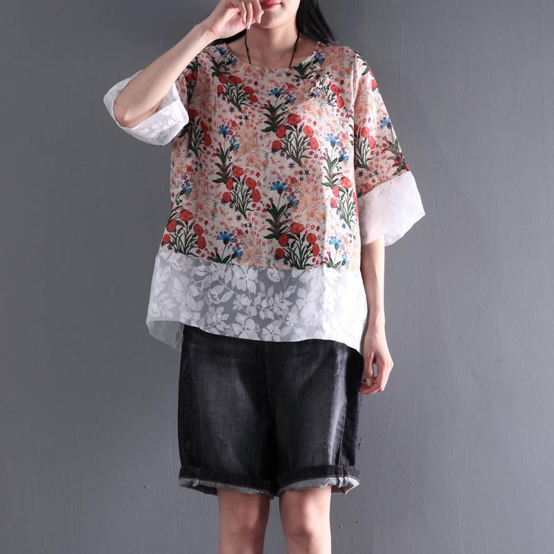 pink floral women summer t shirt linen blouse half sleeve short top lace patchwork
