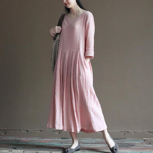 pink linen dress for summer maxi dresses plus size maternity dress half sleeve