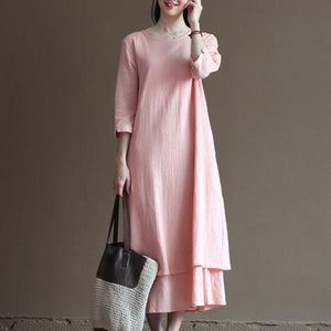 pink spring layered linen dress long maxi dresses