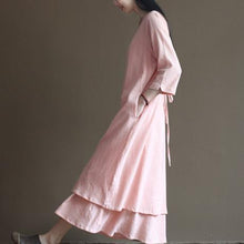 Load image into Gallery viewer, pink spring layered linen dress long maxi dresses