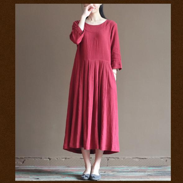red linen dress plus size summer maxi dresses loose linen clothing