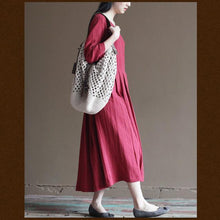 Load image into Gallery viewer, red linen dress plus size summer maxi dresses loose linen clothing