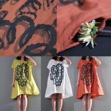 Load image into Gallery viewer, red oversize print summer dresses short sleeve sundress short caftan