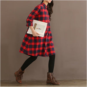 red plaid plus size shirt dress oversize women blouse long sleeve spring dresses
