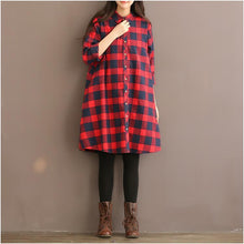 Load image into Gallery viewer, red plaid plus size shirt dress oversize women blouse long sleeve spring dresses