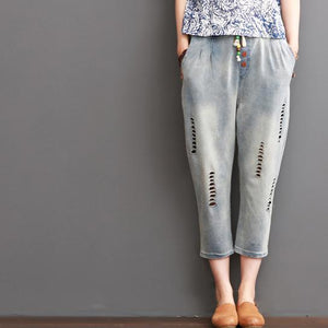 ripped pants summer women crop pants
