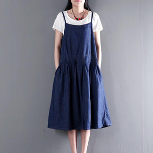 summer denim dress long denim scraped maxi dress plus size sundresses
