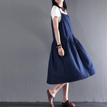 Load image into Gallery viewer, summer denim dress long denim scraped maxi dress plus size sundresses