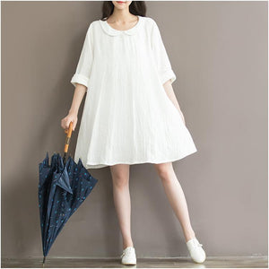 2016 top quality white linen sundress plus size linen summer dresses traveling casual style
