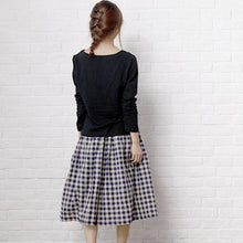 Load image into Gallery viewer, vintage dark blue plaid skirts retro plaid summer skirts
