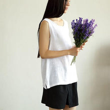 Load image into Gallery viewer, white summer linen tank top women breathy linen shirt blouse