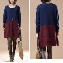 Laden Sie das Bild in den Galerie-Viewer, winter dresses navy sweaters new pattern mixed