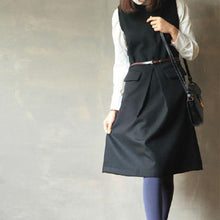 Load image into Gallery viewer, women black vintage woolen dress casual tunic sleeveles dresses