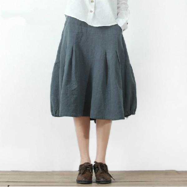 women blue Linen casual skirts Retro summer cotton skirts