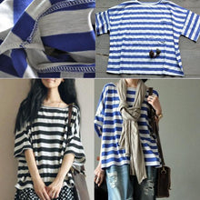 Load image into Gallery viewer, women oversize striped summer t shirt casual cotton blouse top