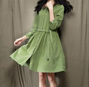 women solid green spring dress long sleeve casual fit flare dress