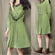 Load image into Gallery viewer, women solid green spring dress long sleeve casual fit flare dress