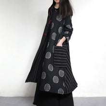Load image into Gallery viewer, 2017 New trench coats strip dotted long linen outwear jackets plus size linen dresses