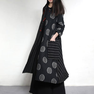 2017 New trench coats strip dotted long linen outwear jackets plus size linen dresses
