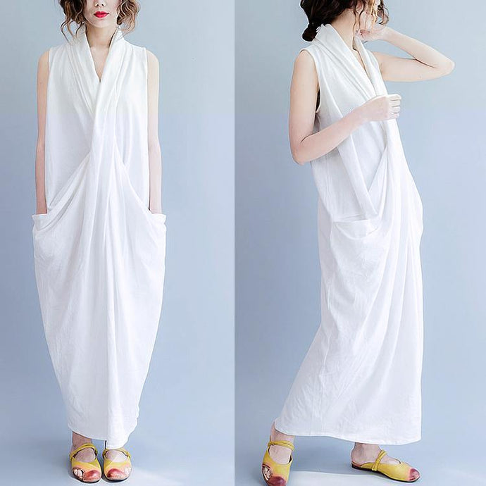 2017 Summer white cross bust cotton gown free style cotton dresses long maxi dress