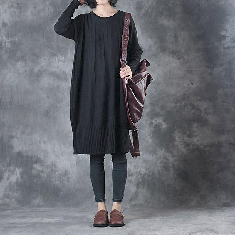 2017 autumn black casual sweater dresses plu size long sleeve o neck knit dress