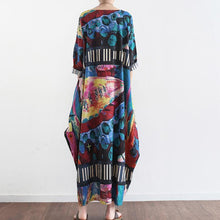 Load image into Gallery viewer, 2017 autumn navy striped prints linen dresses vintage plus size casual lantern maxi dress