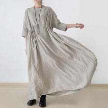 Load image into Gallery viewer, 2021 autumn plus size linen dresses asymmetric bracelet sleeved drawstring maxi dress ( Limited Stock)
