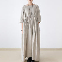 Load image into Gallery viewer, 2017 autumn plus size linen dresses asymmetric bracelet sleeved drawstring maxi dress