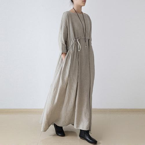 2020 autumn plus size linen dresses asymmetric bracelet sleeved drawstring maxi dress