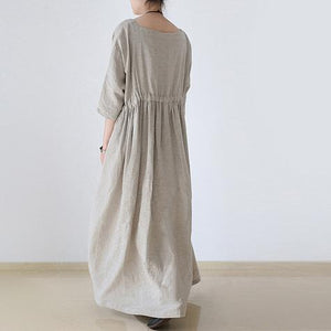 2017 autumn plus size linen dresses asymmetric bracelet sleeved drawstring maxi dress