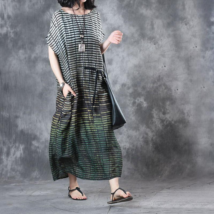 2017 baggy green striped linen women sundress oversize casual dresses o neck maxi dress