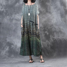 Load image into Gallery viewer, 2017 baggy green striped linen women sundress oversize casual dresses o neck maxi dress