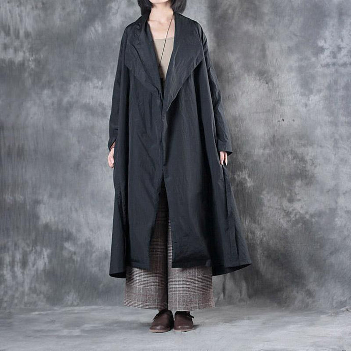 2017 black casual cotton cardigan oversize solid trench coat