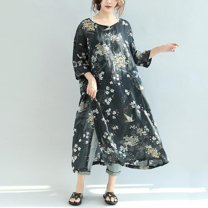 2017 black floral bird silk linen dresses plus size sundress vintage half sleeve maxi dress