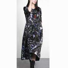 Load image into Gallery viewer, 2017 black print corduroy dresses baggy loose cute brief elegant gowns fall fashion