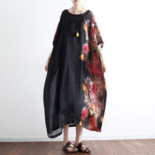 Load image into Gallery viewer, 2017 black prints silk dresses plus size sundress patchwork short sleeve maxi dress