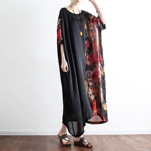 2017 black prints silk dresses plus size sundress patchwork short sleeve maxi dress