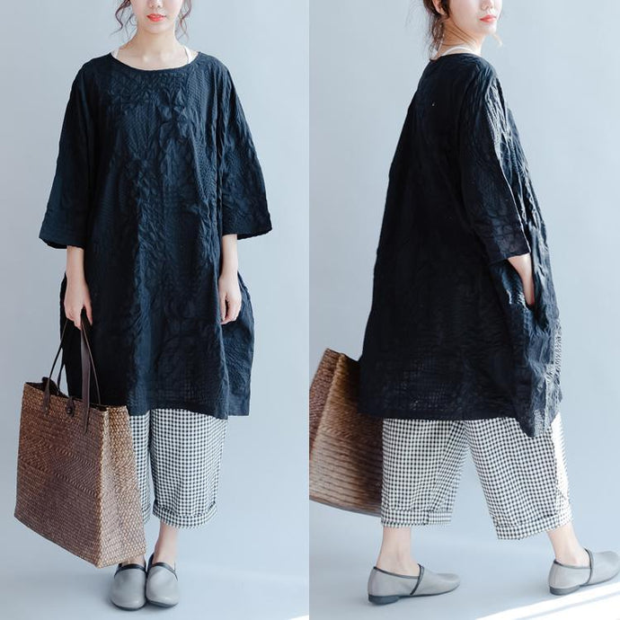 2017 black summer dresses cotton oversize sundress embroidery o neck mid-dress