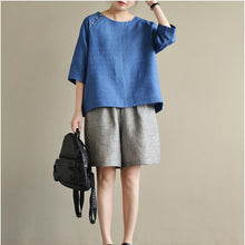 Load image into Gallery viewer, 2017 blue jacquard linen tops plus size dotted casual pullover short sleeve t shirt