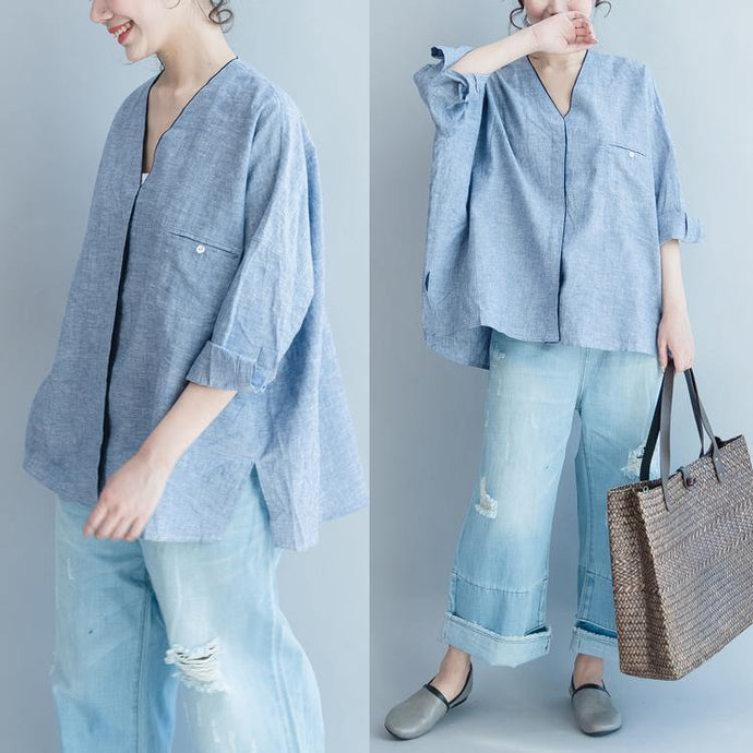 2017 blue linen casual blouse stylish loose tops V neck shirts