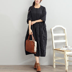 2017 black summer striped dresses plus size cotton sundress half sleeve maxi dress