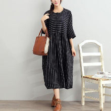 Load image into Gallery viewer, 2017 black summer striped dresses plus size cotton sundress half sleeve maxi dress